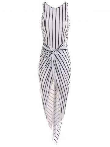 Discount Fashionable Round Neck Striped Pleated Bodycon Dress For Women