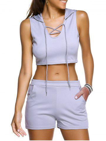 Unique Casual Hooded Crop Top + Grey Shorts Womens