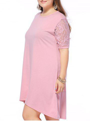 New Alluring Plus Size Lace Spliced High Low Dress