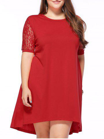 Alluring Plus Size Lace Spliced High Low Dress - Red - 3xl
