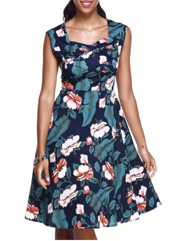 Vintage Sweetheart Neck Floral Print Midi Dress For Women - PURPLISH BLUE 2XL