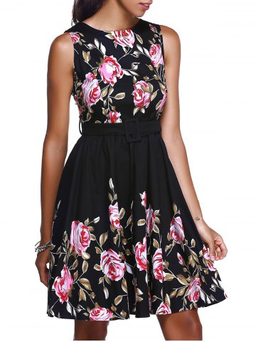 Fashion Floral High Waisted Swing Short Prom Dress