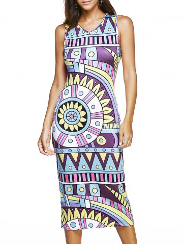 Outfits Sleeveless V-Neck Tribal Print Dress