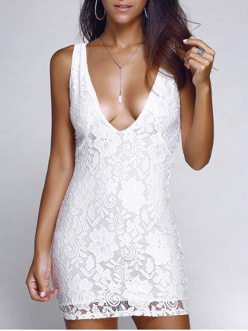Fancy Alluring Plunging Neck Crochet Lace Dress