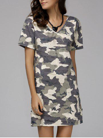 Discount V-Neck Short Sleeve Camo Tee Dress COLORMIX L