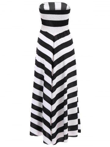 Shops Bandeau Striped Maxi Prom Party Dress - S WHITE AND BLACK Mobile