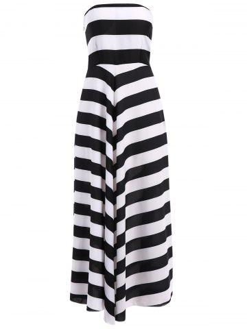 Fashion Bandeau Striped Maxi Prom Party Dress - S WHITE AND BLACK Mobile