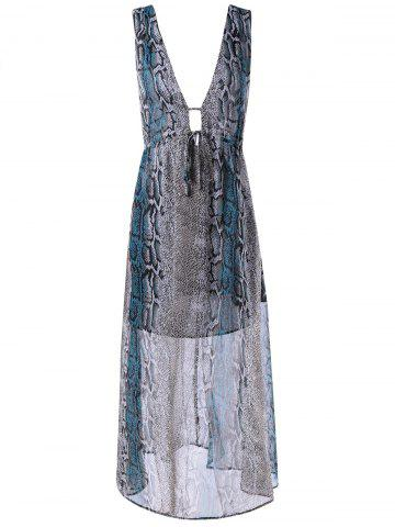 Online Women's Trendy Plunging Neck Sleeveless Open Back Printed Dress COLORMIX L
