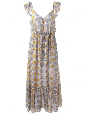 Fashionable V-Neck Chiffon Printing Long Dress For Women - Colormix - S