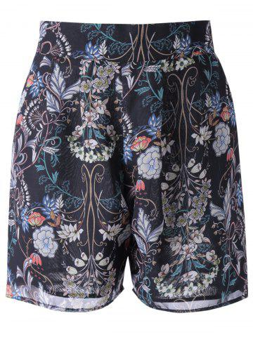 Affordable High Waisted Floral Knee Length Shorts BLACK XL
