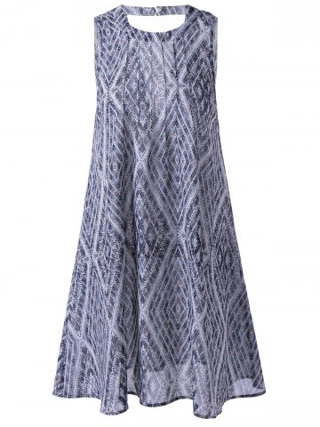 Best Ethnic Style Loose-Fitting Round Neck Cavern Out Dress For Women PURPLISH BLUE M