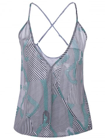 Printed Striped Camisole Tank Top - Black Grey - S