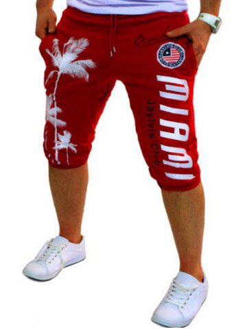 Casual Lace Up Tree Printed Cropped Jogger Pants - Red - L