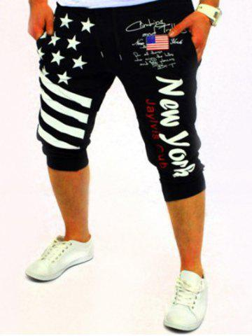 Latest Casual Lace Up Stars Printed Cropped Jogger Pants BLACK XL