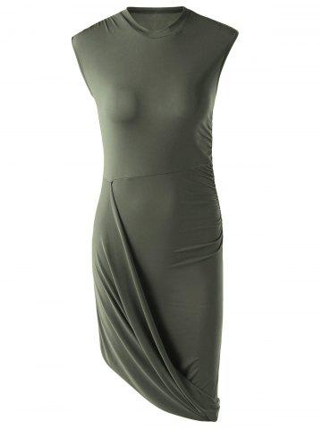 Discount Trendy Solid Color Sleeveless Pleated Asymmetric Dress For Women ARMY GREEN L