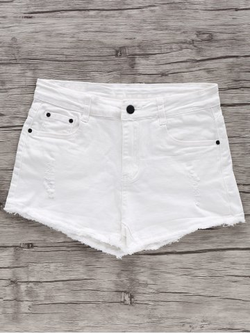 Discount Chic High Waist White Frayed Fringe Denim Shorts For Women