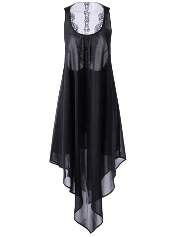 Trendy Asymmetrical Cut Out Swing Dress BLACK L
