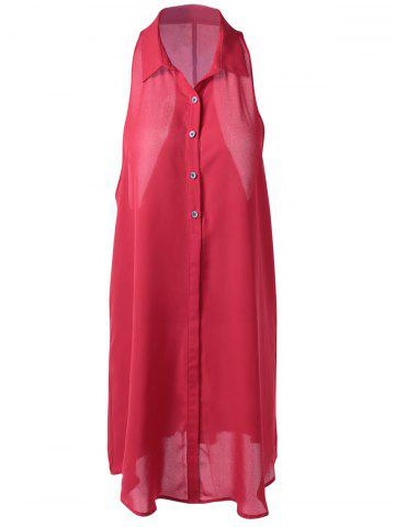Shops Fashionable Slimming Shirt Collar Midi Pattern Blouse For Women RED L