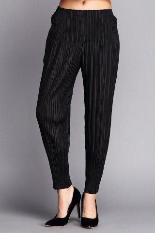 New Elastic Waist Pleated Ninth Pants
