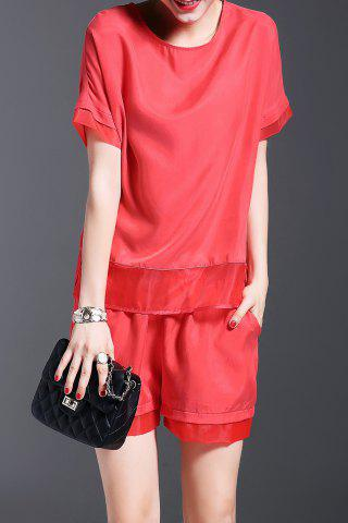 Buy Pure Color Spliced Top and Shorts