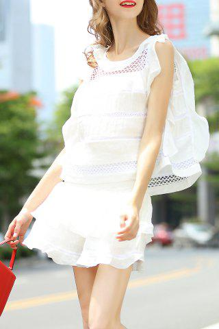Chic Flounce Ruffles Tank Top and High Waist Solid Color Skirt Suit