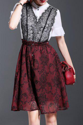Discount Faux Twinset Lace Splicing Dress