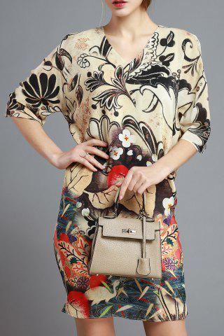 Cheap Straight Loose Abstract Print Dress