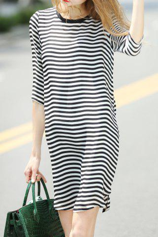 Fashion Loose Striped Dress and Cami Black Tank Top Suit
