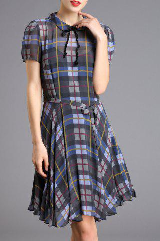 Fancy Fitting Belted Checked Dress