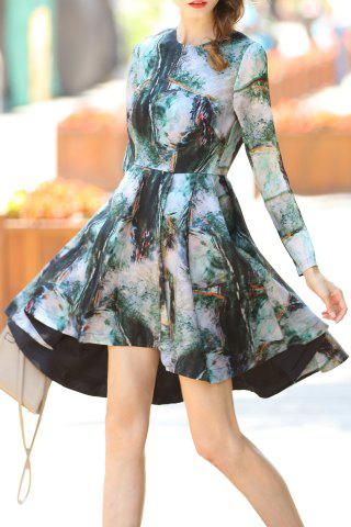 Buy Printed Waisted Corset High-Low Dress