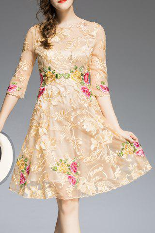 Online Floral Embroidered Knee Length A Line Dress