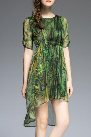 Buy Plant Print High Low Half Sleeve Dress