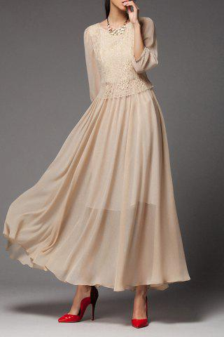 Best Fitting Solid Color Lace Spliced Dress NUDE L