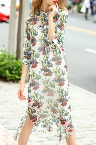 Fancy Single-Breasted Printed Dress and Cami Tank Top Suit