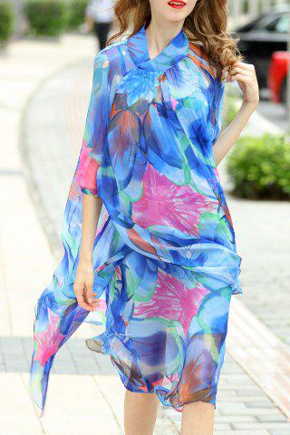 Chic Asymmetric Printed Silk Dress and Cami Tank Top Suit