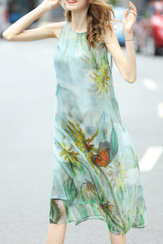 Affordable Vintage Printed Dress and Cami Tank Top Suit