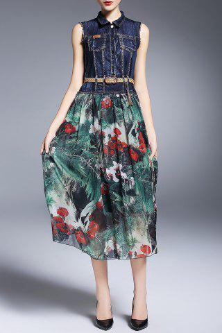 Shop Denim Splicing Floral Print Dress