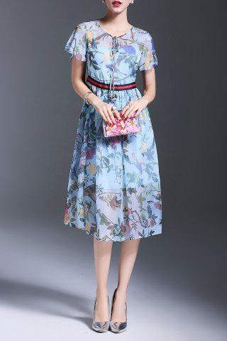 Sale Chiffon Flower Print Midi Dress