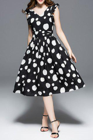 Shops Ruffled Sleeve Polka Dot Print Dress