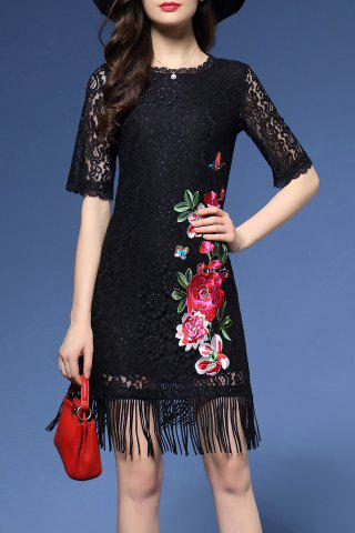 Latest Flower Embroidered Lace Fringe Bodycon Dress