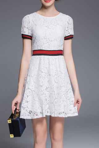 Outfit Round Collar Lace A Line Dress