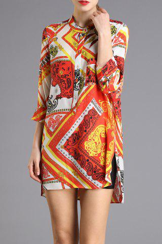 Fancy Printed High-Low Mini Dress