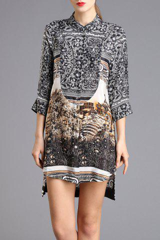 Best Abstract Print High-Low Shirt Dress