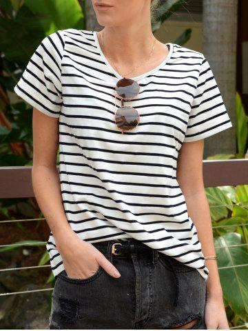Hot Casual Cuffed Sleeve Pullover Striped T-Shirt For Women
