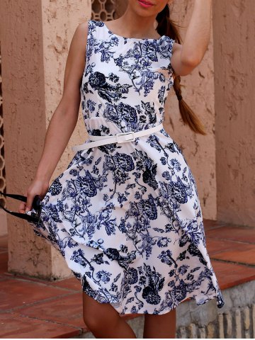 Chic Retro Style Jewel Neck Sleeveless Floral Print Belted Flare Dress For Women