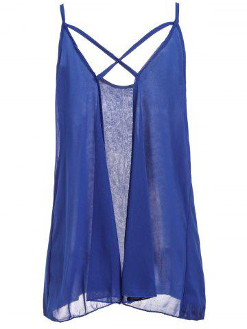 Outfits Fashionable Spaghetti Strap Solid Color Chiffon Backless Women's Tank Top - 2XL BLUE Mobile