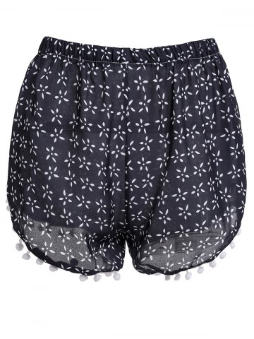New Stylish Elastic Waist Tiny Floral Print Irregular Hem Laciness Women's Shorts CADETBLUE S