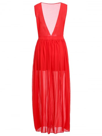 Online Fashionable Plunging Neck Ruffle Solid Color Sleeveless Maxi Dress For Women - M RED Mobile
