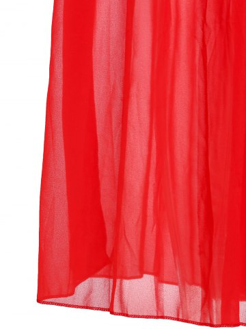 Women's Fashionable Plunging Neck Ruffle Solid Color Sleeveless Maxi Dress For Women - M RED Mobile