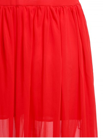 Fashion Fashionable Plunging Neck Ruffle Solid Color Sleeveless Maxi Dress For Women - M RED Mobile